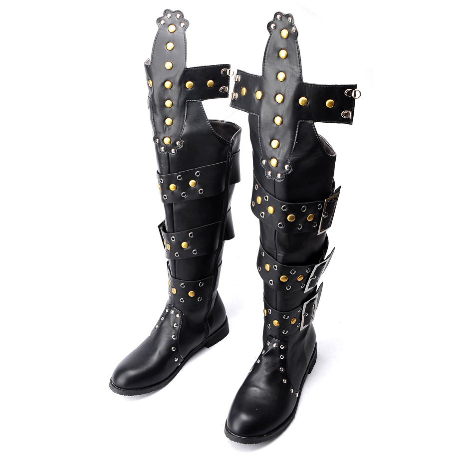 Unisex Male Female Gaotong Shoes Punk Rock Rivet Heavy Metal Off-Roading Long Motorcycle Riding Boots