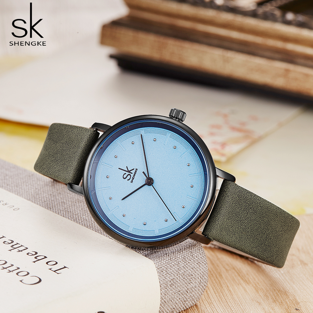 Shengke Color Unique Simple Women Watches Retro Leather Dress Female Clock Top Brand Women's Fashion Wristwatches Montre Femme