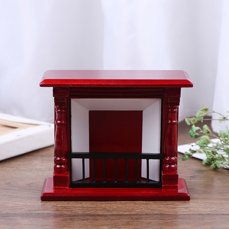 1/12 Toys Mini Wood Fireplace Decoration Miniature Furniture Toys Dolls House Accessories