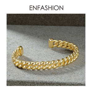 Image 4 - ENFASHION Punk Link Chain Cuff Bracelets Bangles For Women Accessories Gold Color Bracelet Bangle Fashion Jewelry Gifts B192018