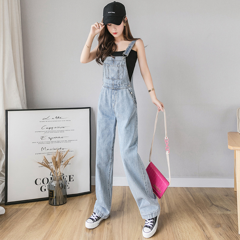 2019 Summer New Style Korean-style Loose-Fit By Age High-waisted Wide-Leg Jeans Suspender Pants Women's