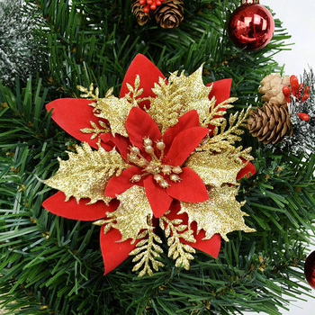 5pcs Glitter Artificial Christmas Flowers Xmas Tree Decorations Ornaments Merry for Home New Year Gift