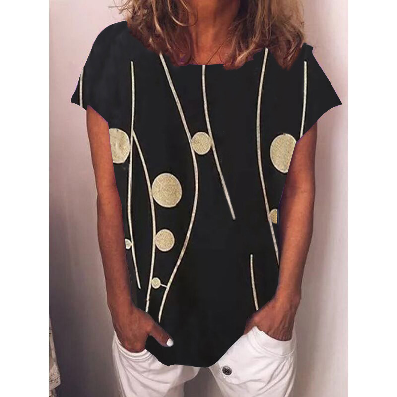 2021 spring and summer women's 5XL top polka dot printing short sleeve round neck T-shirt