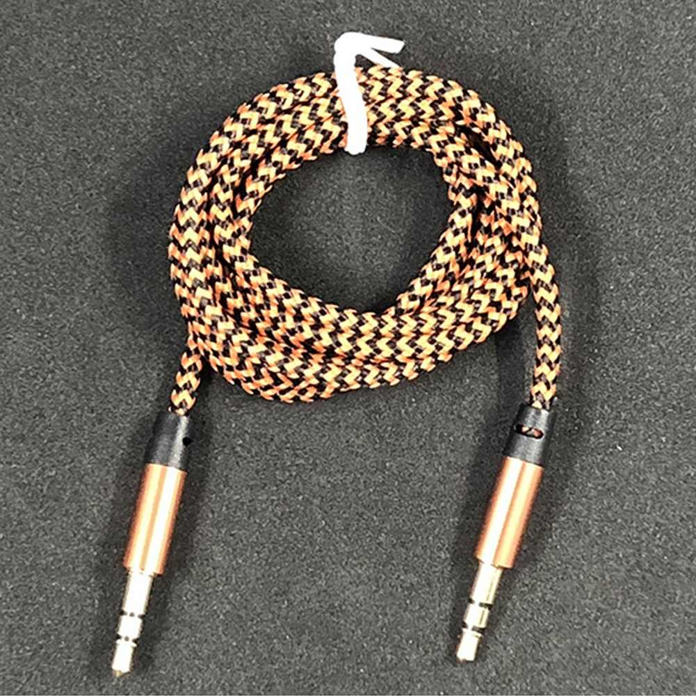 1m Braided Cable Speaker Wire 3.5mm AUX Male to Male Audio Adapter Cable for PC DVD Speaker Wire