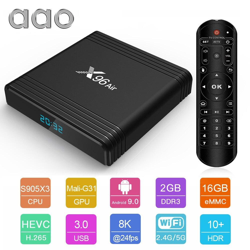 AAO Home Theatre System X96 Air Amlogic S905X3 mini Android 9.0 TV BOX 2GB 16GB wifi 4K 8K Netflix X96Air Smart Set Top Box