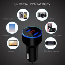 Mini USB Car Charger For iPhone XR 11 Fast Car Phone Chargers Fast Charging With LED Display 3.1A Dual USB Phone Charger in car