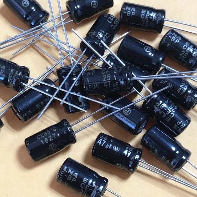 50PCS ELNA RBD 25V47UF 6.3X11MM black Non polar 25v 47uf audio electrolytic capacitor CE BP 47uF/25V BP 47UF 25V