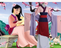 Movie Mulan Cosplay Costumes Red Blue Drama Princess Dresses Mushu Dragon Halloween Hua Mulan Costume
