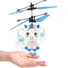 Flying Helicopter Hand Control Flying Electronic Infrared Induction Aircraft Shinning LED Lighting Quadcopter Dron(China)