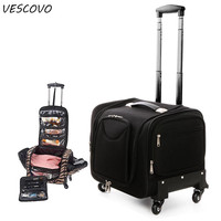 VESCOVO Women Multi function Rolling Luggage Spinner Toolkit Bag Girl Cosmetic Bag Nail beauty Trolley Suitcase On Wheel