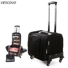VESCOVO Women Multi-function Rolling Luggage Spinner Toolkit Bag Girl Cosmetic B
