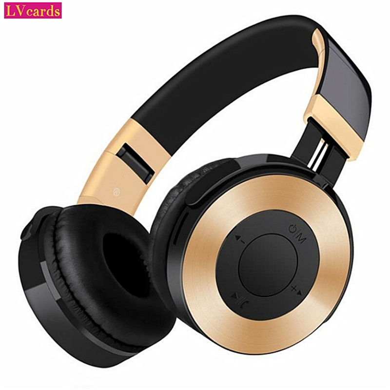 LVcards B-New Portable Wireless Headphones Bluetooth Stereo Foldable Headset Audio Mp3 Adjustable Earphones With Mike For Phones