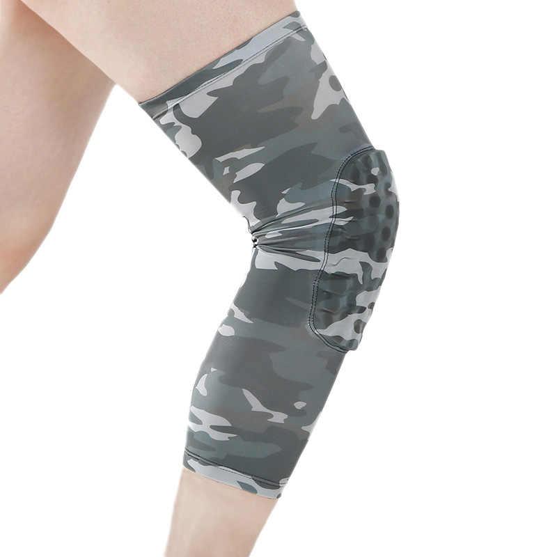 Spor Kneepad erkekler basınçlı elastik diz pedleri destek kamuflaj dizkapağı spor dişli basketbol voleybol Brace koruyucu