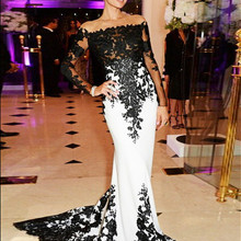 Celebrity-Gown Evening-Dresses Mermaid-Strapless Long Train White-And-Black Trumpet Sweep-Brush