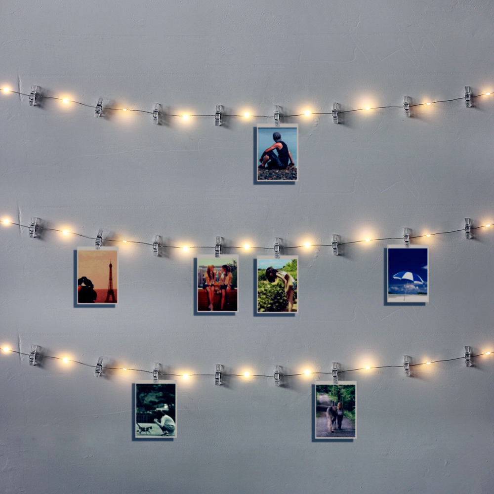 1M 2M 5M LED String Lights Photo Clip Fairy Garland Battery Operated For New Year Christmas Party Wedding Xmas Indoor Decoration
