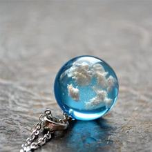Chic Transparent Resin Rould Ball Moon Pendant Necklace Women Blue Sky White Clo