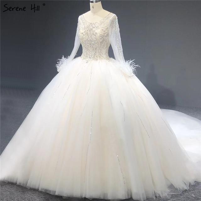 الأبيض البريق الفاخرة طويلة الأكمام فساتين الزفاف س الرقبة الماس الريش مثير زي العرائس HA2273 مخصص