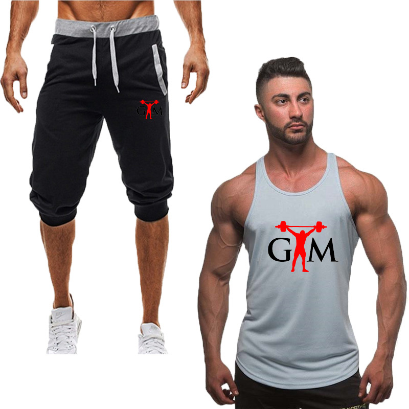 2019 New Summer Sport Men's Sportswear Tank Top+pants Running Shorts Vest Sets Clothes Sports Joggers Training Gym Fitness Suits