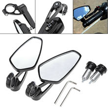 (Ship From Germany)7/8 Black Aluminum Motorcycle Handlebar End Side Rearview Mirror Bar
