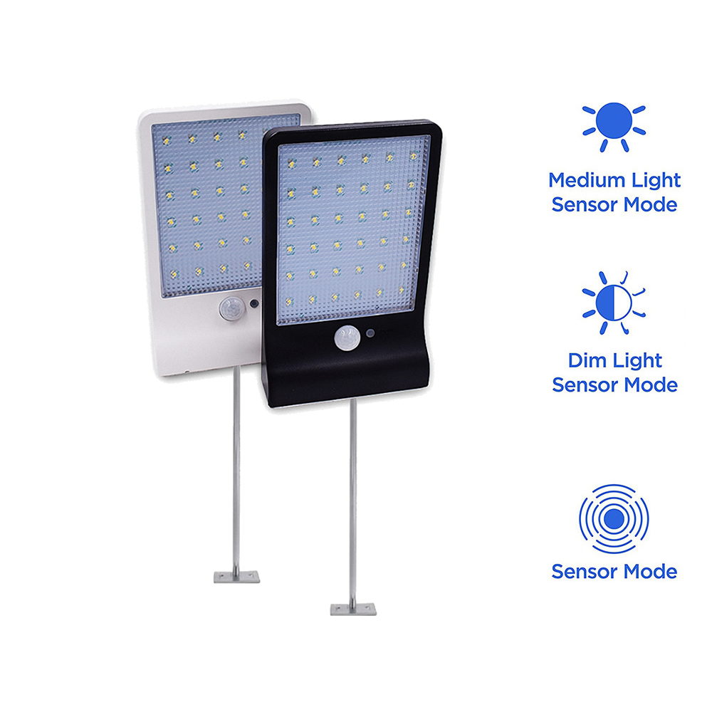 Metal Poles Remote 48 LED Solar Power PIR Infrared Motion Sensor Wall Lamp Energy Saving Waterproof Outdoor Garden Street Securi