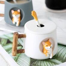 420ml Cute Dog Ceramic Coffee Or Tea Mugs Shiba Design With Lid And Spoon Creative Drinkware Cups Novelty Gifts