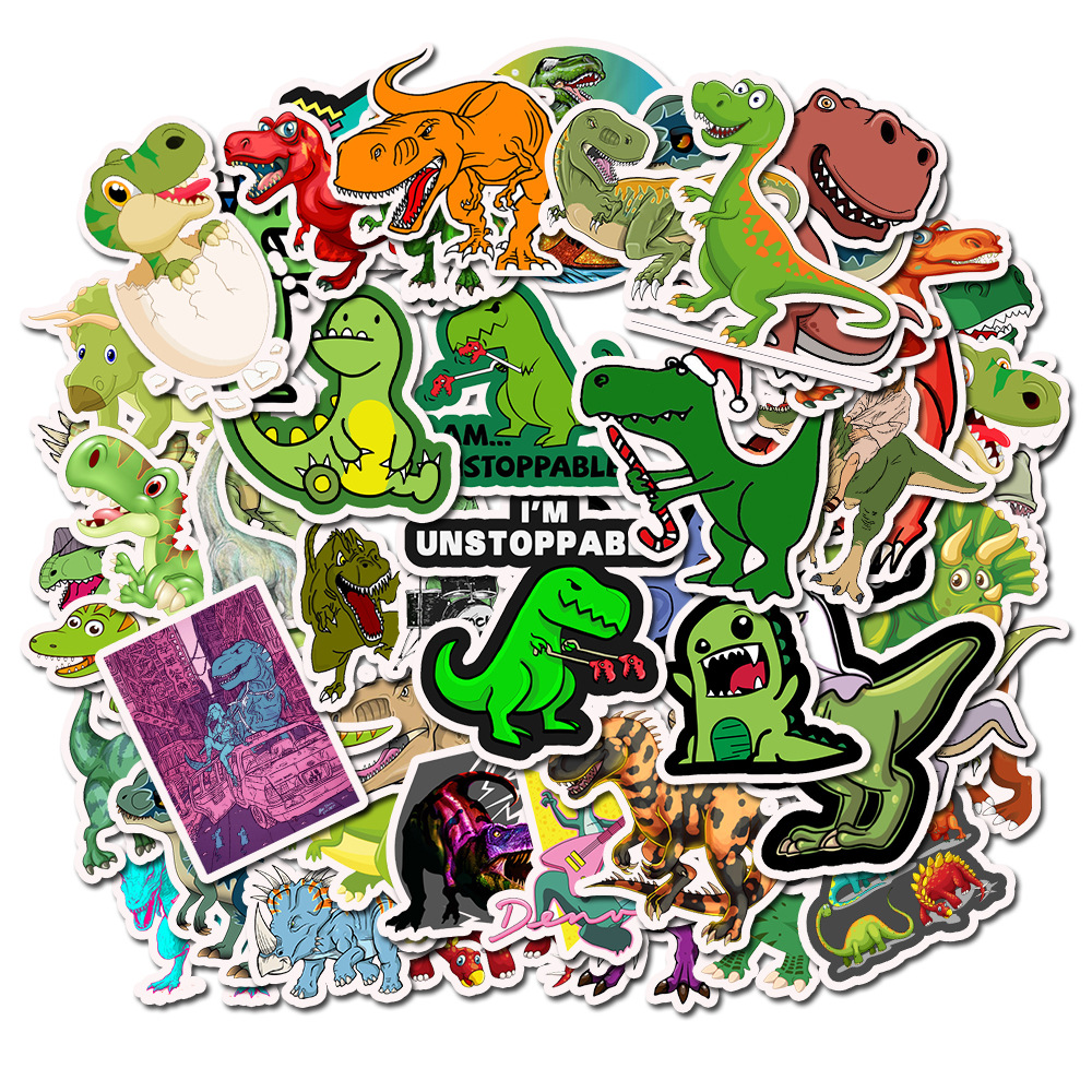 10pcs/Pack Kids Cute Animal Dinosaur Funny Stickers Waterproof Skateboard Suitcase Phone Luggage Laptop Stickers Classic Toys