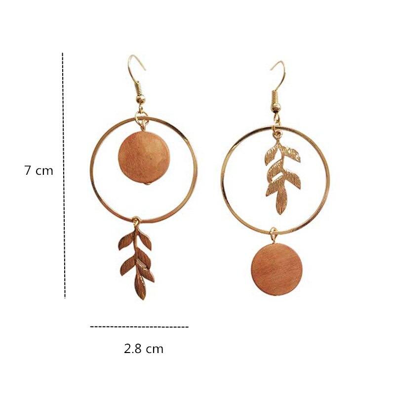 Vintage Small Round Asymmetrical Metal Hoop Leaf Drop Earrings Korean Leaves Wood Pendent Earrings for Women Girls Ear Jewelry