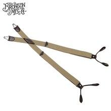 Bronson Men's Vintage Y-Back Genuine Leather Suspenders Adjustable Striped Braces