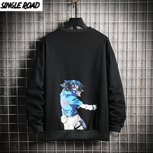 SingleRoad Crewneck Sweatshirt Men Sasuke Naruto Clothes Japanese Streetwear Hoodies Hip Hop Harajuku Sweatshirts Black Hoodie
