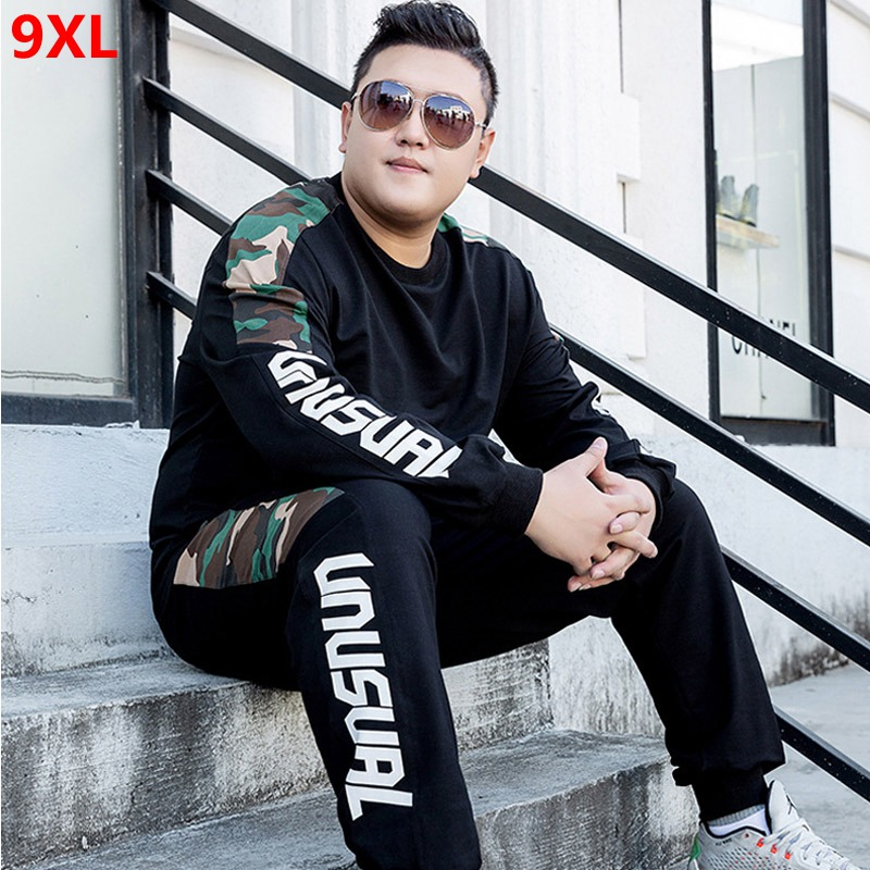 Spring And Autumn Training Suit Men's Large Size Two-piece Sports Running Clothes Elastic Plus Size Tide Sports Suit 8XL 7XL