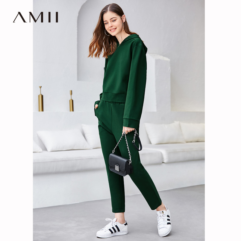 Amii  Women Suits   Causal Solid Loose Long-sleeved Two-piece Hooded Sweatshirt Long Pants Sport Suits 11747013
