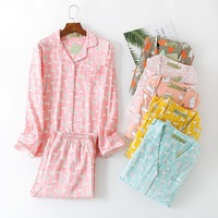 Women Pajamas Set Autumn Winter Long sleeved Trousers Sleepwear 100% Cotton Home Wear Knitted Printing Cartoon Cardigan Pyjamas