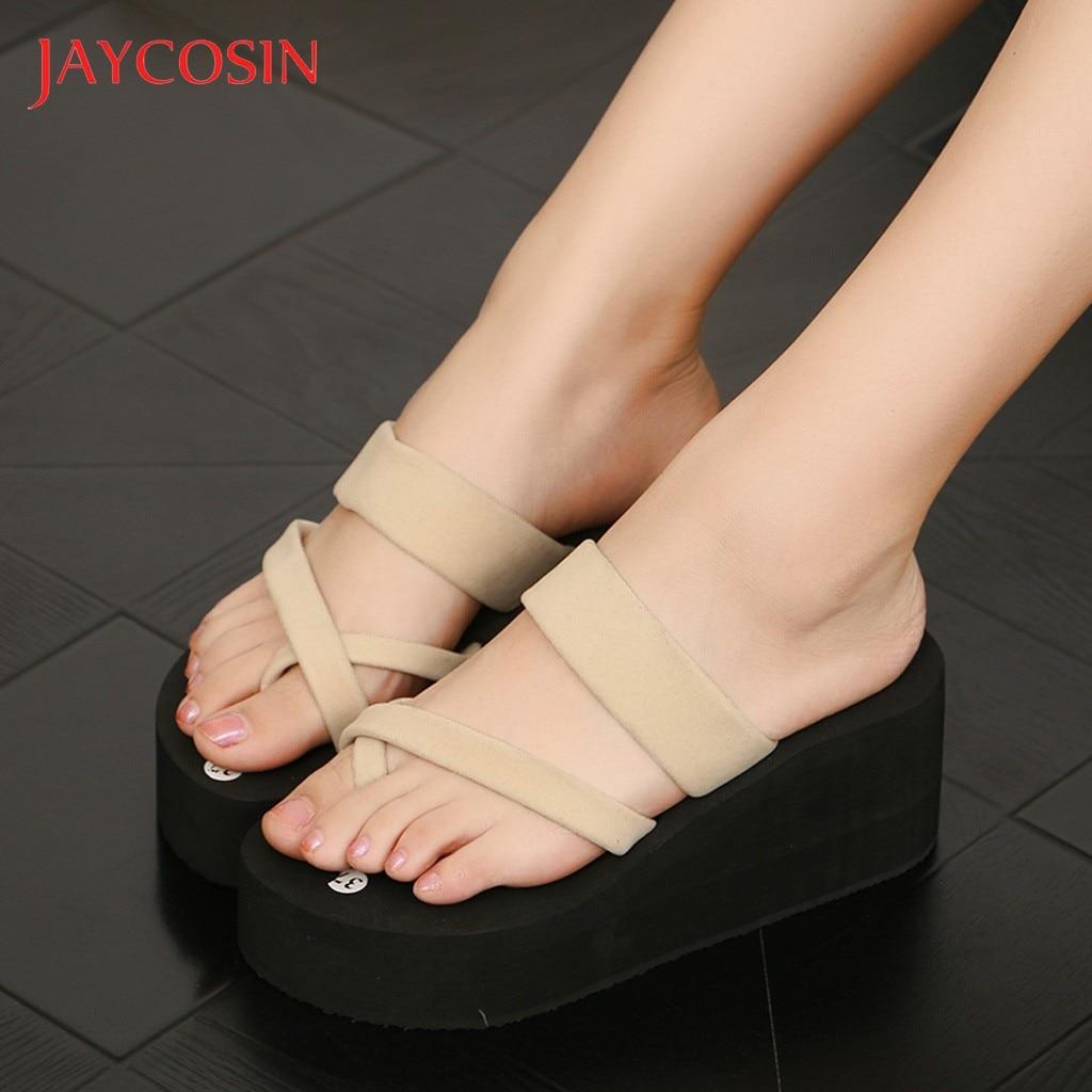 JAYCOSIN Heel Wedge Summer Sandals Shoes Woman Non-Slip Platform Flip Flops Sandals Flat Beach Slippers Women zapatos de mujer 1 1