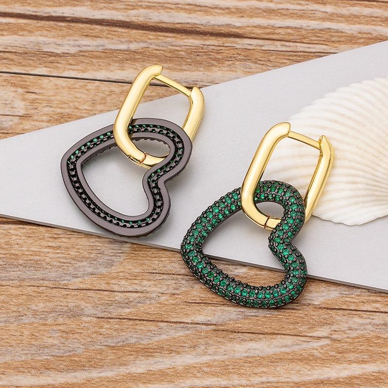 2020 nuevo diseño de oro/colores/verde corazón de piedra pendientes CZ cúbico brazalete gota aretes Huggie Simple joyería de Navidad