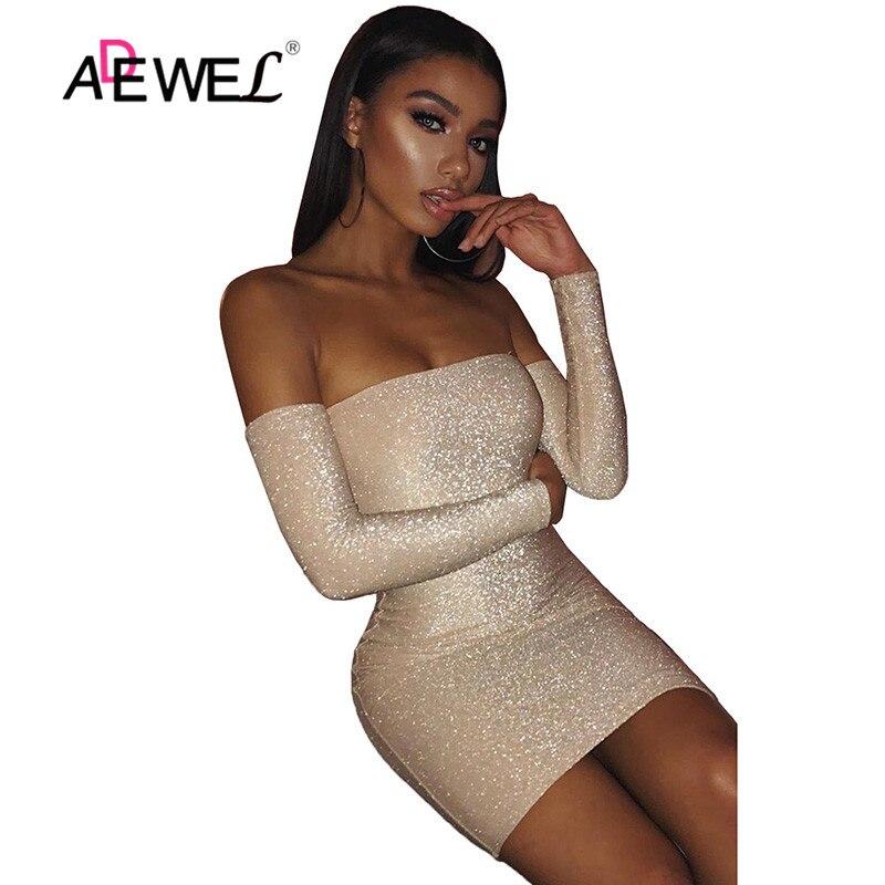 ADEWEL Autumn Winter Elegant Club Night Party Dress Off Shoulder Glitter Bodycon Dress Women Long Sleeve Sexy Dress Female