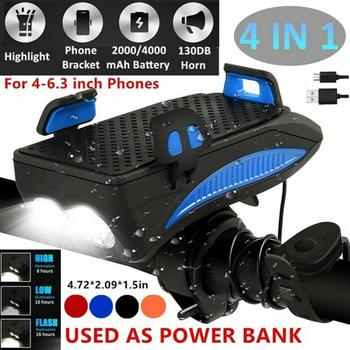 Multi-function Bicycle Light USB Rechargeable LED Bike Head Lamp Bike Horn Phone Holder Powerbank 4 in 1 MTB Cycling Front Light
