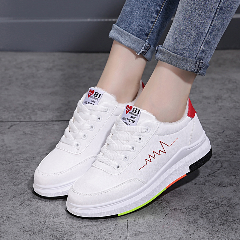 2019-Thick Bottomed WOMEN'S Shoes Platform Versatile Lace-up White Students Casual Flat Shoes Autumn Athletic Shoes Women's
