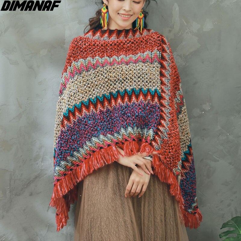 DIMANAF 2021 grande taille femmes chandails à tricoter chauve-souris rayé gland couverture Indie Folk Vintage pull châle écharpe pull