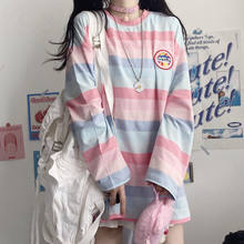 Autumn Rainbow T-Shirt Female Oversized Funny T Shirts Streetwear Summer Half Sleeve Casual Cute Tops High Street Tshirt Women