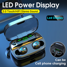 Tws Bluetooth 5,0 auriculares inalámbricos en el oído con micrófono 3500 mAh Power Bank Mini auriculares cancelando auriculares para juegos