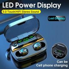 Tws Bluetooth 5.0 sans fil écouteurs dans loreille casque avec Microphone 3500 mAh batterie externe Mini écouteurs annulant casque de jeu
