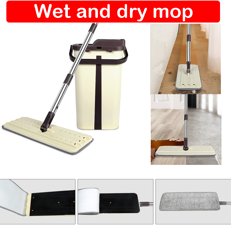 Free Hand-Washing Cleaning Flat Mop With Bucket Flat Squeeze Mop Hand Free Wringing Cleaning Mop Home Kitchen Floor Clean D20