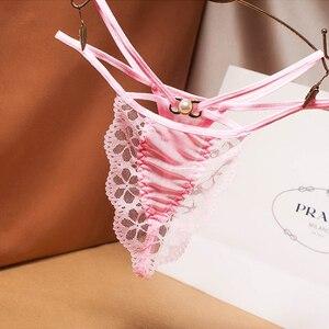 Сексуальные соблазнительные кружевные трусики с низкой талией, украшенные жемчужинами, прозрачные сетчатые трусики с завязками