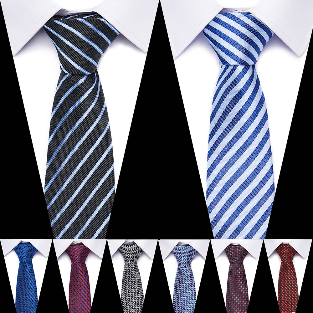 New Classic Mens Tie Silk 7.5 Cm Formal Necktie Red And Blue  Ties For Man Business Wedding Gift Party
