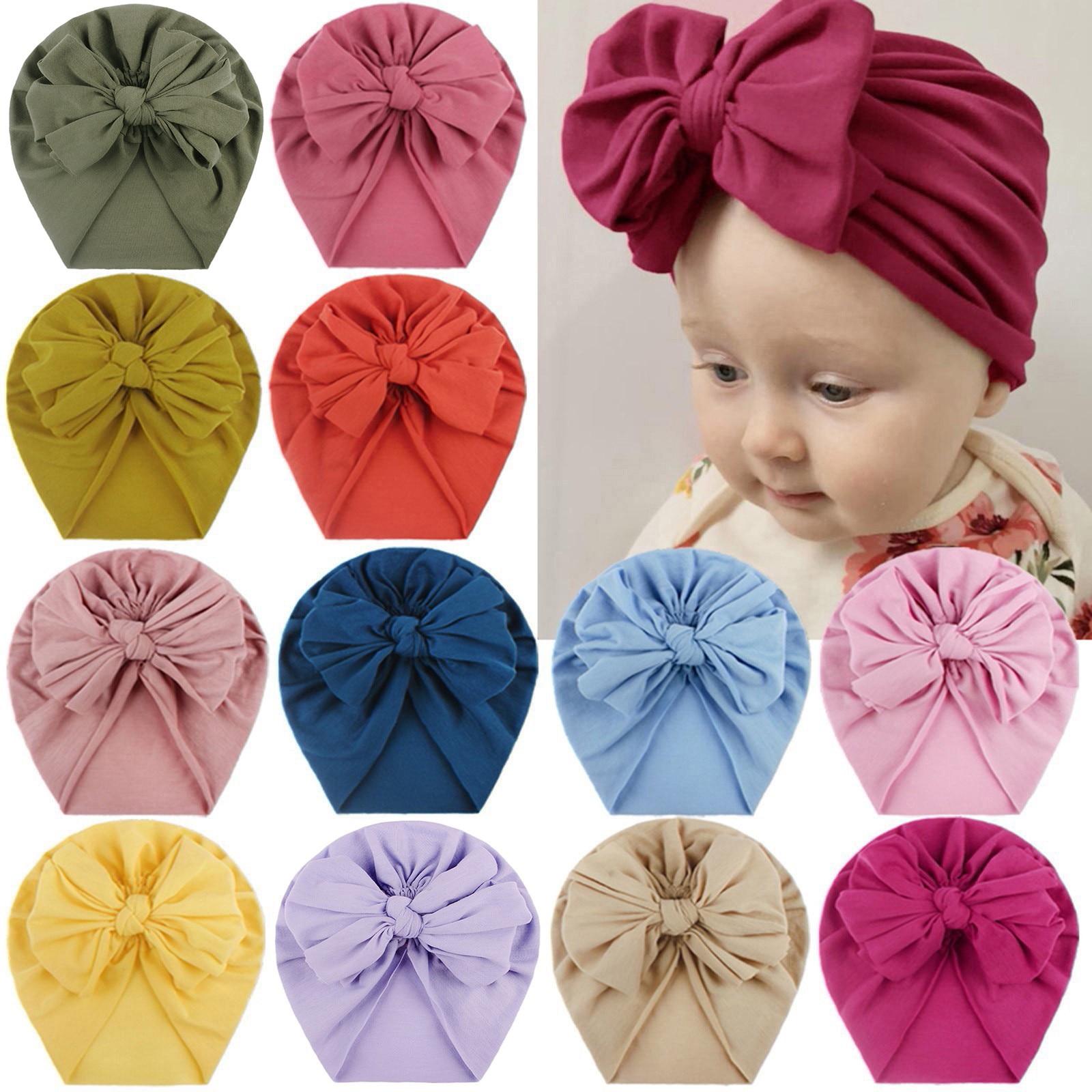 Newborn Baby Kids Turban Bowknot Head Wrap Boy Girls India Beanie Hats Soft Cap