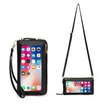 Women Touch Screen Wristlet Handbag, RFID Protection Small Wallet Purse Crossbody Phone Bag