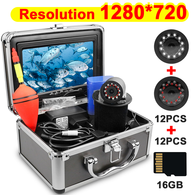 Fisch Finder 1280*720 Auflösung Unterwasser Angeln Kamera 12 stücke Weiß LEDs + 12 stücke Infrarot Lampe Für Eis angeln 16GB Recod