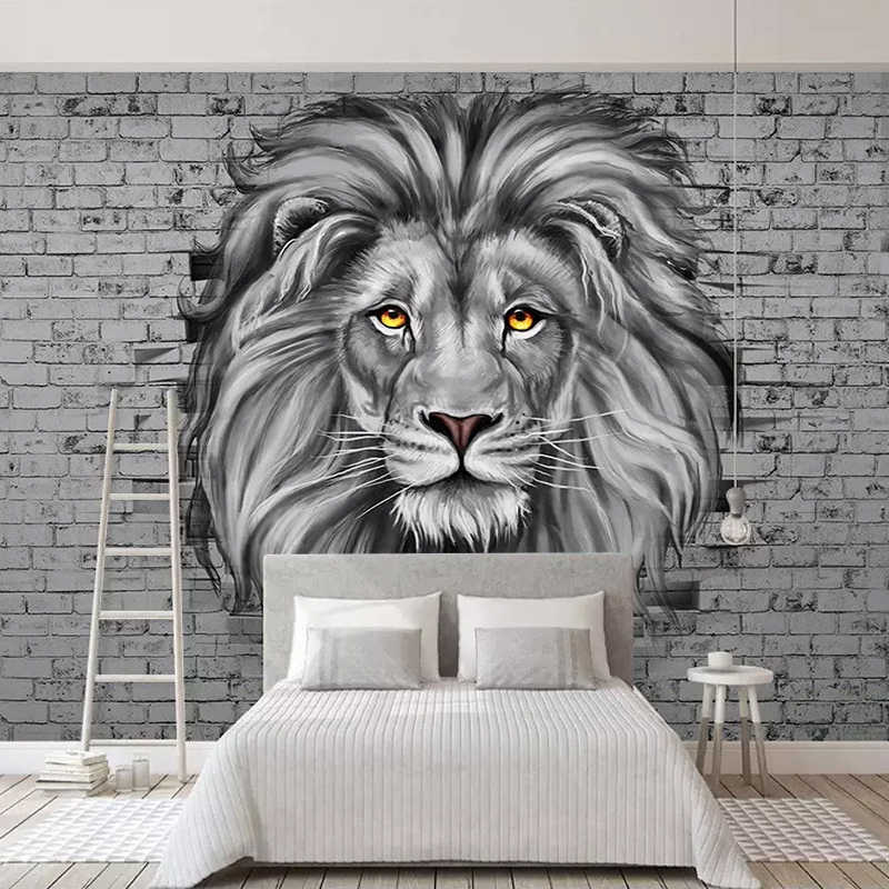 Custom Photo Wallpaper Modern Black And White Lion Mural Living Room Kids Bedroom Background Wall Painting Creative Art Frescoes Wallpapers Aliexpress
