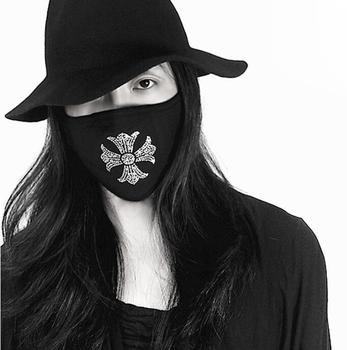 Men Women's black color diamond beaded 100% cotton mask lady's PM 2.5 filter breathable cotton mouth-muffle R2792