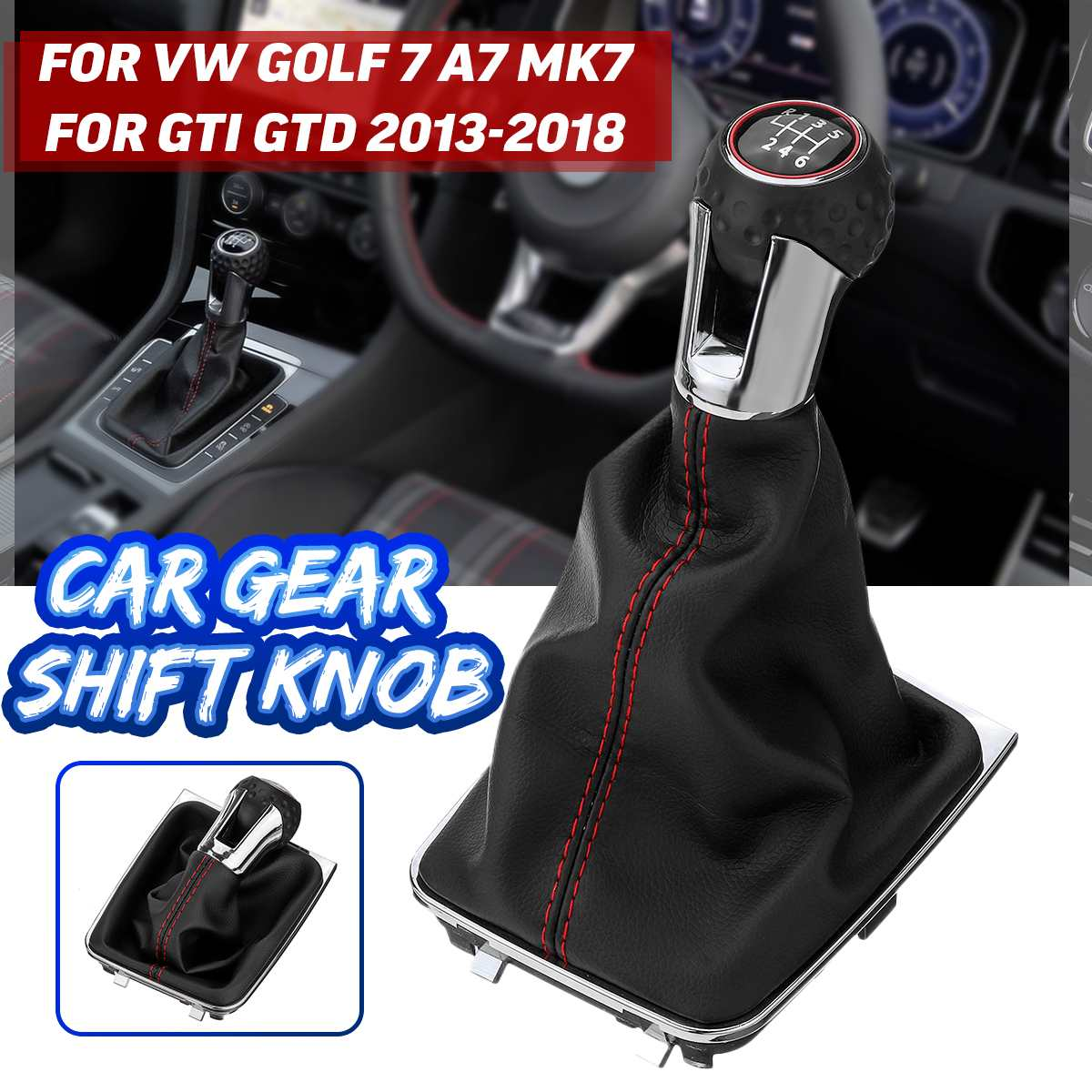 5/<font><b>6</b></font> Speed Car Gear Shift Knob Leather Gaiter Boot Cover Lever Shifter Knob For <font><b>VW</b></font> <font><b>Golf</b></font> 7 A7 MK7 For GTI <font><b>GTD</b></font> 2013-2018 image